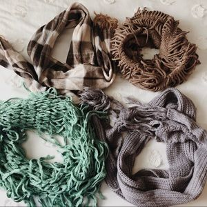 4 brown gray plaid and green scarves